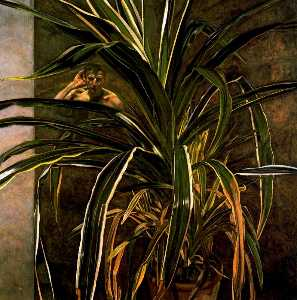 Lucian Freud - interno con pianta  rifle..