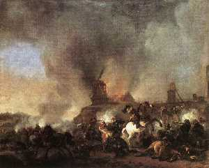 Philips Wouwerman - Cavalleria battaglia  come  frontale  di  Un  Ardente  mulino