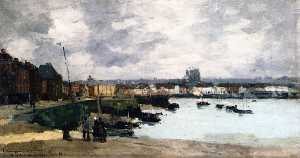 Albert-Charles Lebourg (Albert-Marie Lebourg) - the quays of dieppe , dopo la pioggia