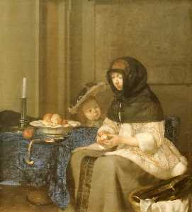 Gerard Ter Borch The Youn.. - La peleuse de pommes ( co..