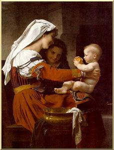 William Adolphe Bouguereau - madonna col bambino e san . giovanni battista