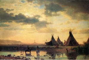 Albert Bierstadt - veduta di chimney rock ogalillalh sioux village in primo piano