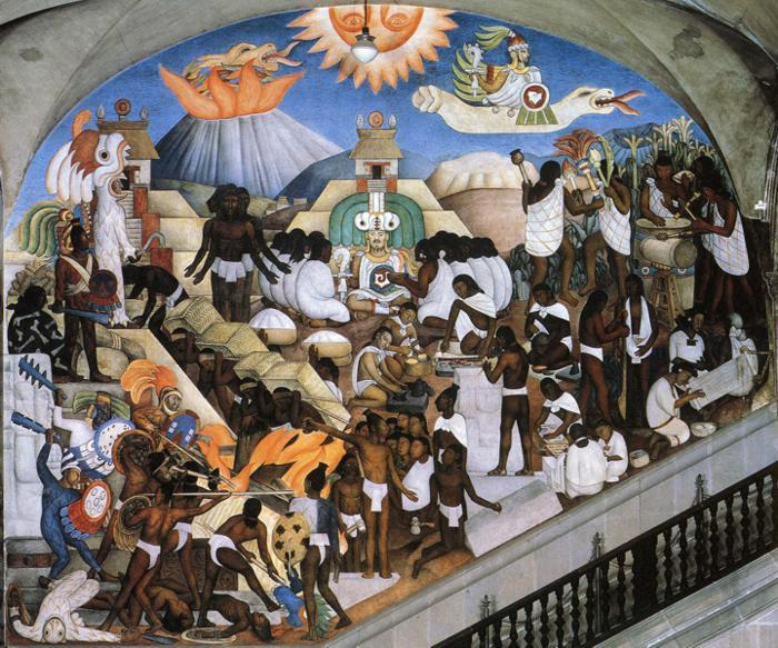 egli Storia del Messico - The Ancient indiano mondo, olio di Diego Rivera (1886-1957, Mexico)