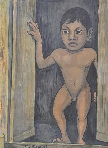 Lot 39 Untitled, olio di Diego Rivera (1886-1957, Mexico)