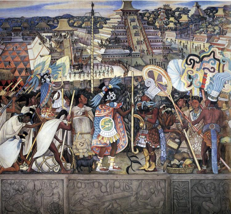 Totonac Civilization, affreschi di Diego Rivera (1886-1957, Mexico)