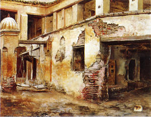 Edwin Lord Weeks - Cortile in Marocco