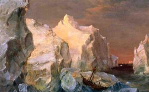 Frederic Edwin Church - iceberg e wreck a sunset ..
