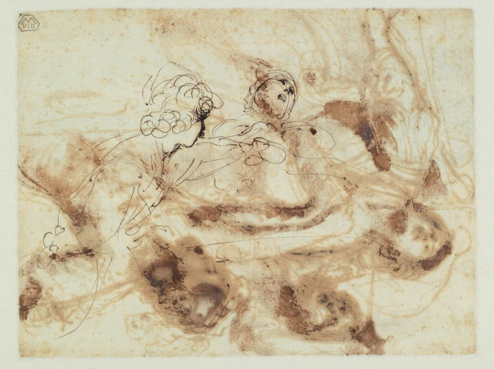 Studio of due figure ( verso ), disegno di Guercino (Barbieri, Giovanni Francesco) (1591-1666, Italy)