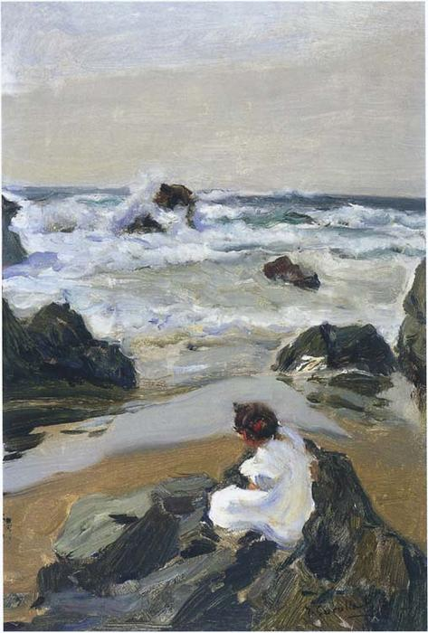 Elenita at the Beach, Asturie, olio su tela di Joaquin Sorolla Y Bastida (1863-1923, Spain)