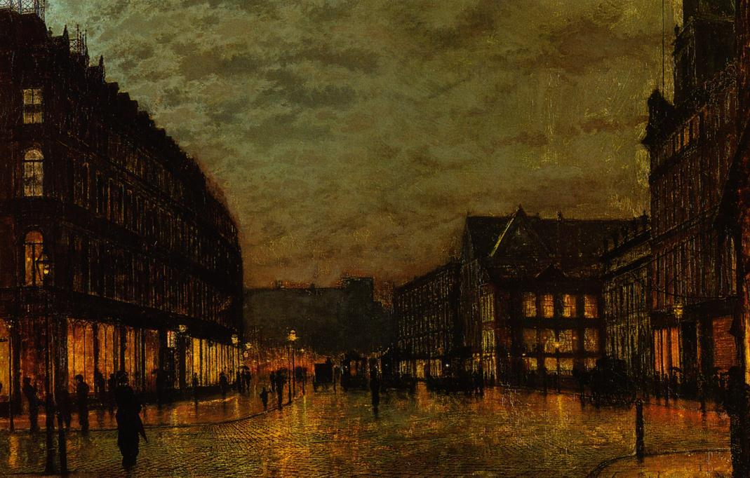 Cinghiali Lane, Leeds by Lamplight, olio di John Atkinson Grimshaw (1836-1893, United Kingdom)