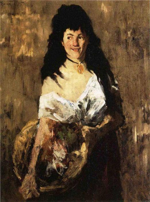 Donna con un carrello, olio su tela di William Merritt Chase (1849-1916, United States)