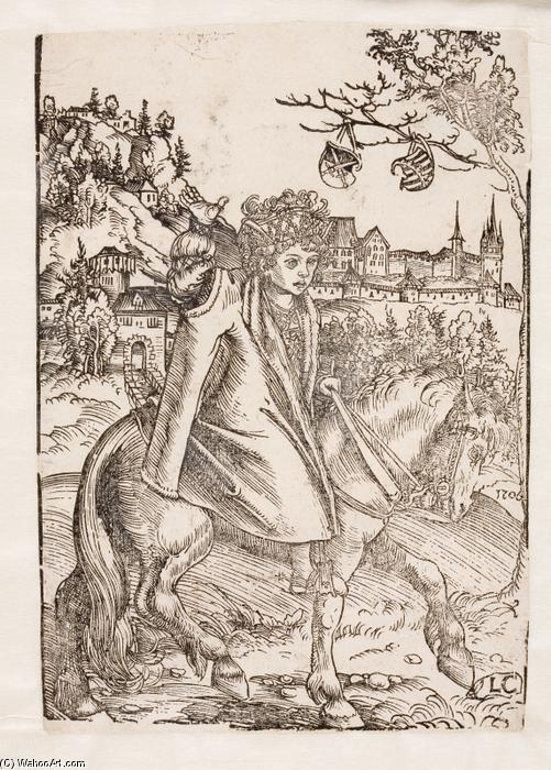Un principe Saxon a cavallo, olio di Lucas Cranach The Elder (1472-1553, Germany)