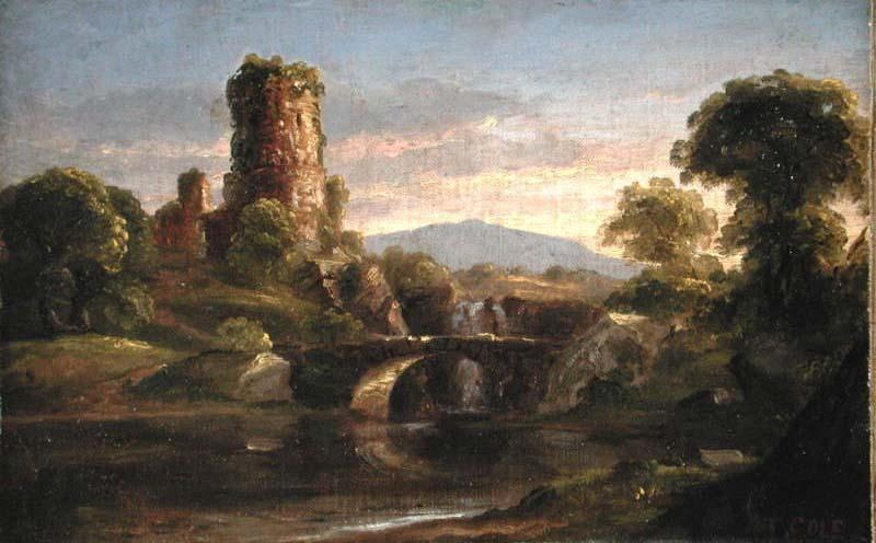 castello e fiume, olio di Thomas Cole (1801-1848, United Kingdom)
