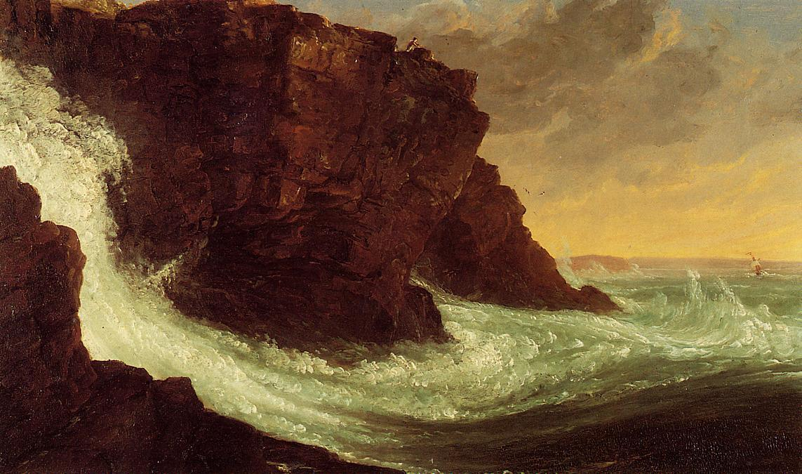 Frenchman's Baia , Mt . isola deserta, olio su tavola di Thomas Cole (1801-1848, United Kingdom)