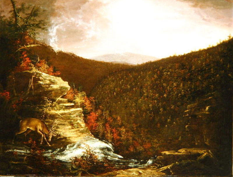 Dalla cima del Kaaterskill Falls, olio su tela di Thomas Cole (1801-1848, United Kingdom)