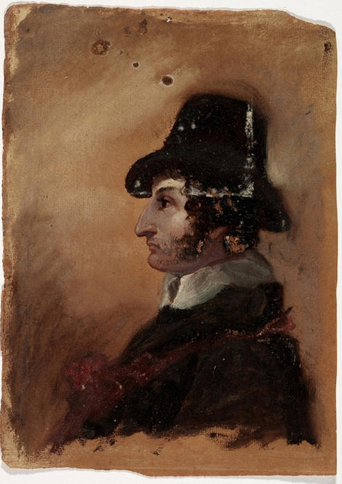 l'uomo in a alta cappello, olio di Thomas Cole (1801-1848, United Kingdom)