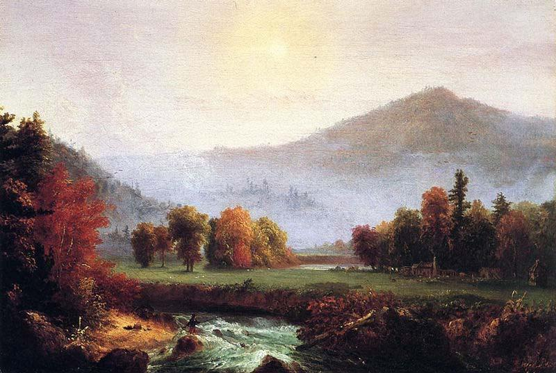 morning mist lecter , Plymouth , nel new hampshire ( a view negli stati uniti d america in autunno ), olio di Thomas Cole (1801-1848, United Kingdom)