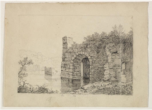 Rovine con  arco  a memoria  Fiume , acquerello di Thomas Cole (1801-1848, United Kingdom)