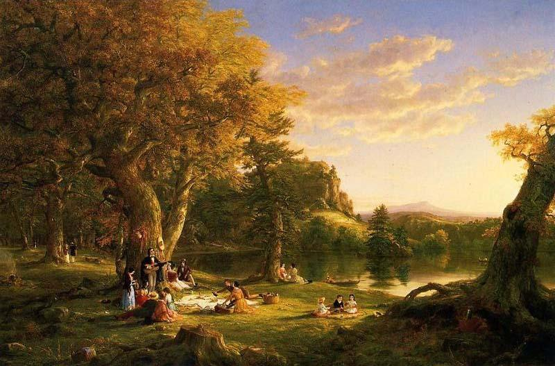 The Picnic, olio su tela di Thomas Cole (1801-1848, United Kingdom)