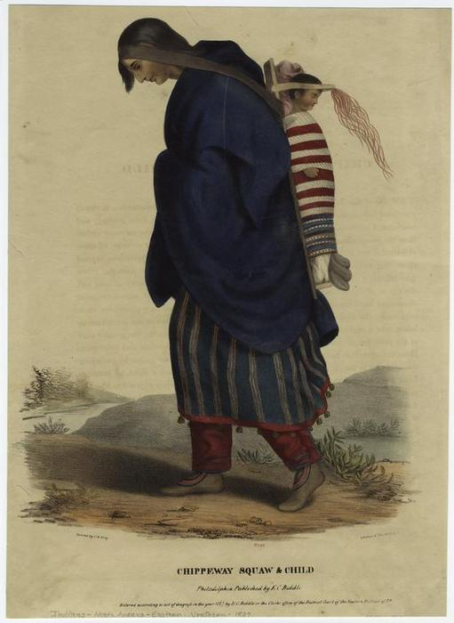 Chippeway [ Chippewa ] squaw & bambino, olio di Charles Bird King (1785-1862, United States)