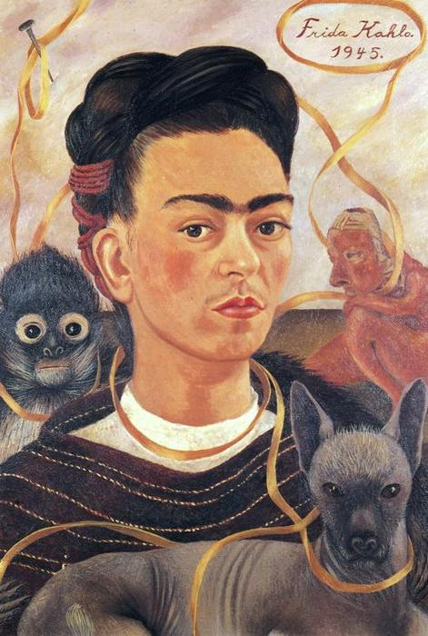autoritratto con piccola `monkey`, olio di Frida Kahlo (1907-1954, Mexico)