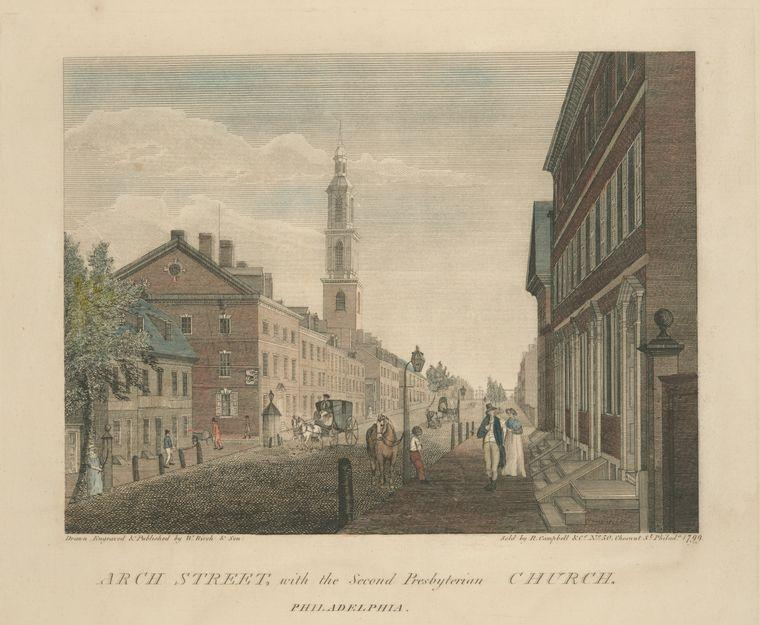 Arco Strada , con la chiesa presbiteriana secondo . Philadelphia, olio di Thomas Birch (1779-1851, United Kingdom)