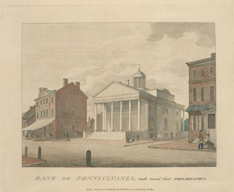 bank of pennsylvania , sud secondo strada philadelphia, olio di Thomas Birch (1779-1851, United Kingdom)