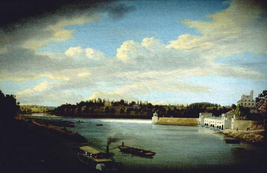 Fairmount Waterworks, olio di Thomas Birch (1779-1851, United Kingdom)