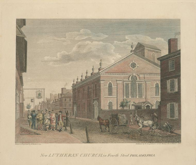 nuova chiesa luterana , in fourth street philadelphia, olio di Thomas Birch (1779-1851, United Kingdom)