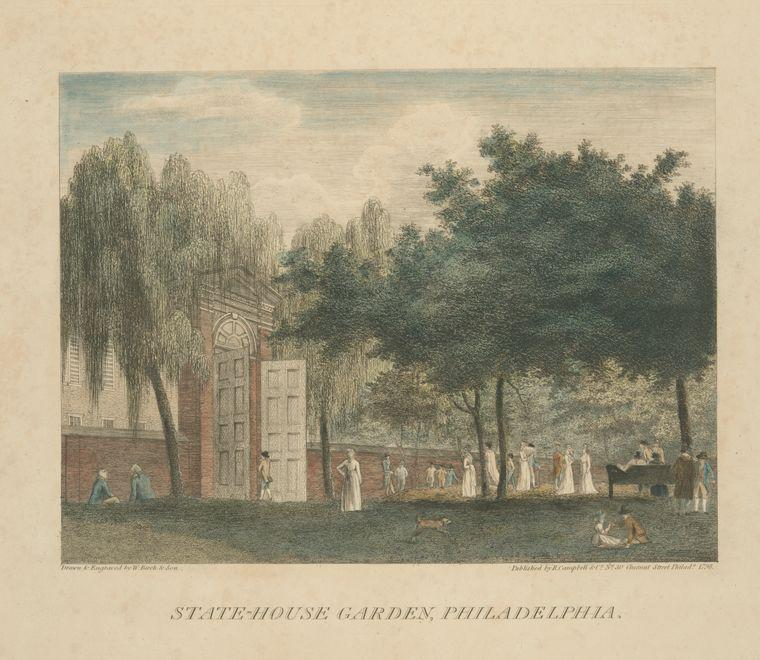 State-House Giardino , Philadelphia, olio di Thomas Birch (1779-1851, United Kingdom)