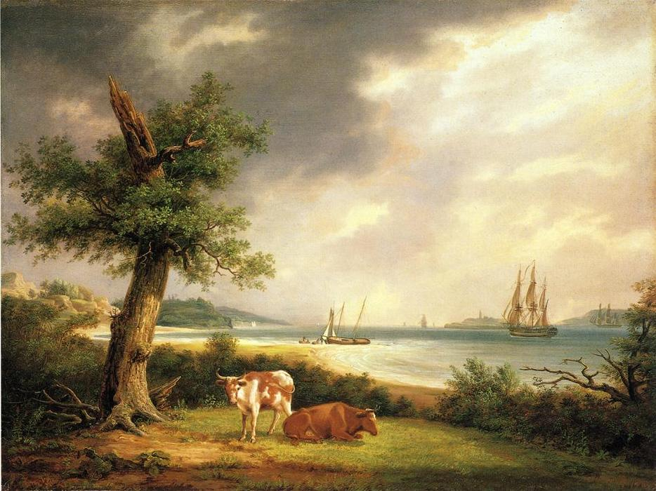The Narrows, New York Bay, olio su pannello di Thomas Birch (1779-1851, United Kingdom)