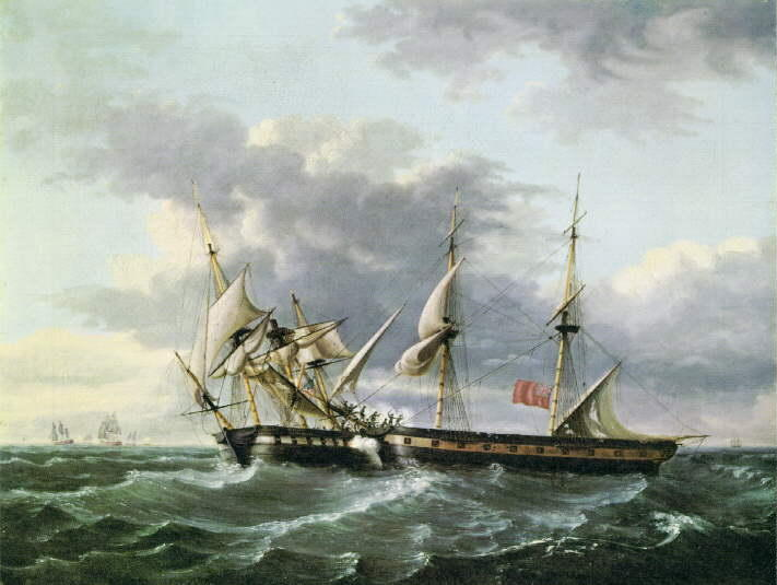 USS WASP imbarco HM Brig FROLIC, olio di Thomas Birch (1779-1851, United Kingdom)