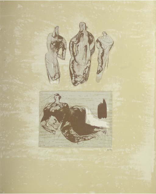 Les Poètes 1, incisione di Henry Moore (1898-1986, United Kingdom)