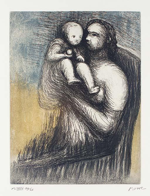 madre e figlio 3  , incisione di Henry Moore (1898-1986, United Kingdom)