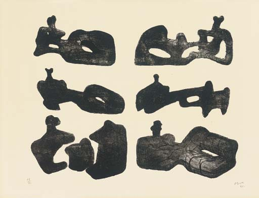 sei reclinabili figure 4, incisione di Henry Moore (1898-1986, United Kingdom)