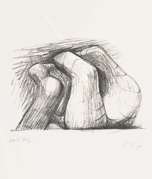 due forme, olio di Henry Moore (1898-1986, United Kingdom)