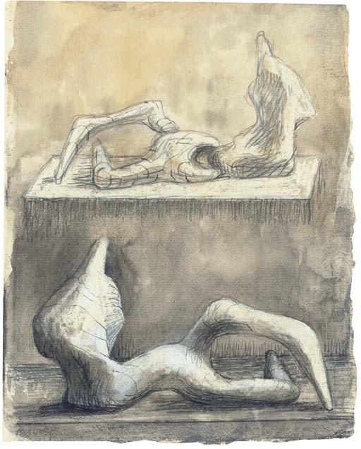 due reclinabili figure 5, incisione di Henry Moore (1898-1986, United Kingdom)
