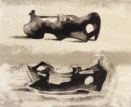 due reclinabili figure 9, olio di Henry Moore (1898-1986, United Kingdom)