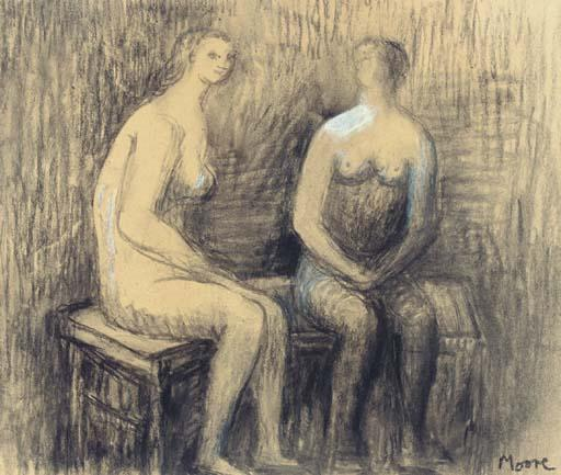 due seduti donne i, incisione di Henry Moore (1898-1986, United Kingdom)