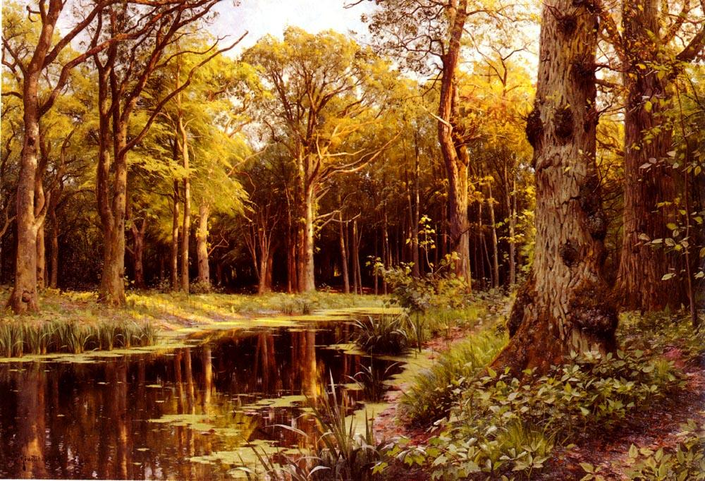 Ordinare Copia Pittura : Un Bosco  flusso  di Peder Mork Monsted (1859-1941, Denmark) | ArtsDot.com