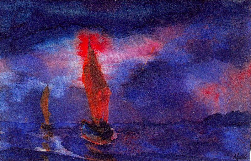 blu mare due  marrone  vele  di Emile Nolde (1867-1956, Germany)