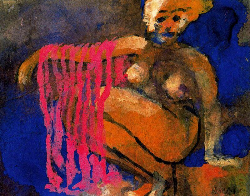 Crouching Nude di Emile Nolde (1867-1956, Germany)