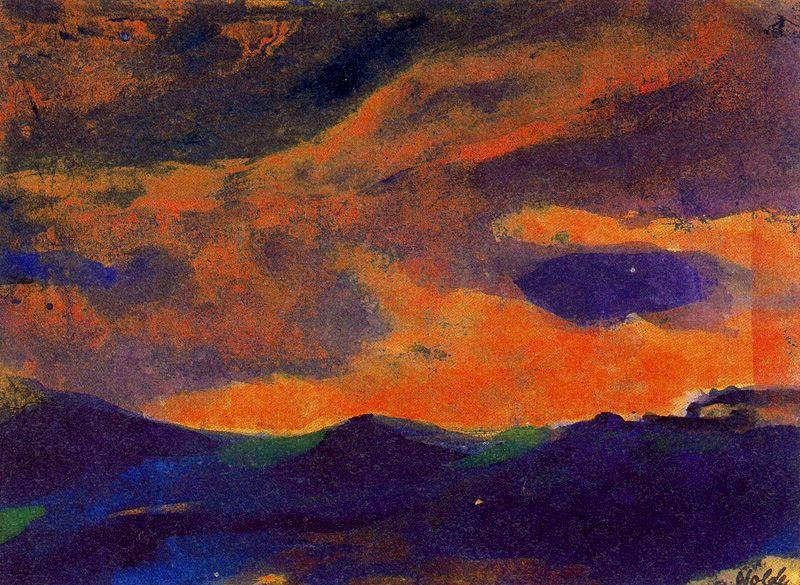 scuro mare con marrone cielo di Emile Nolde (1867-1956, Germany)