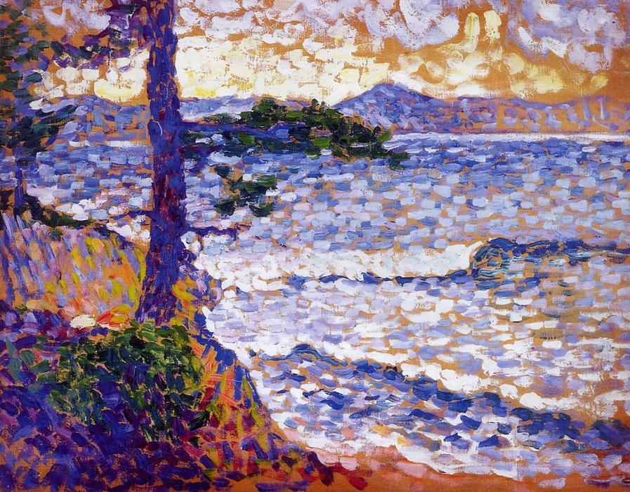 La costa mediterranea, olio su pannello di Henri Edmond Cross (1856-1910, France)