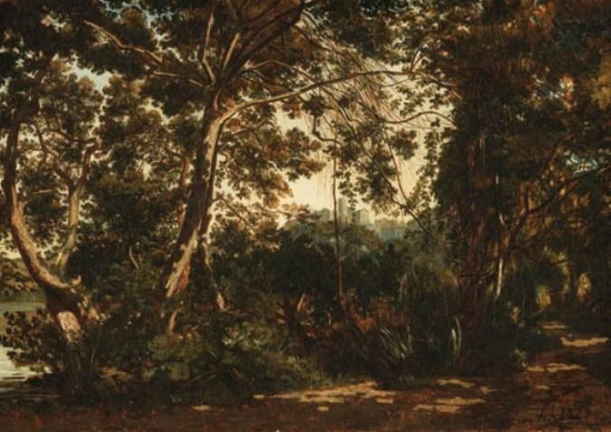 a `wooded` foresta con una città al di là di Henri-Joseph Harpignies (1819-1916, France)