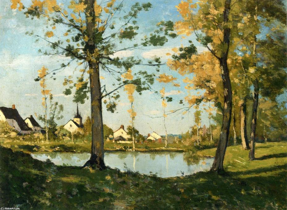 Autunno a Saint-Prive di Henri-Joseph Harpignies (1819-1916, France)