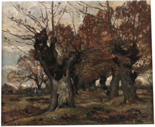 willow` in un paesaggio di Henri-Joseph Harpignies (1819-1916, France)