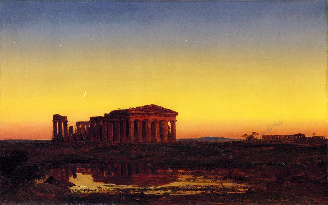 Evening at Paestum, olio su pannello di Jasper Francis Cropsey (1823-1900, United States)