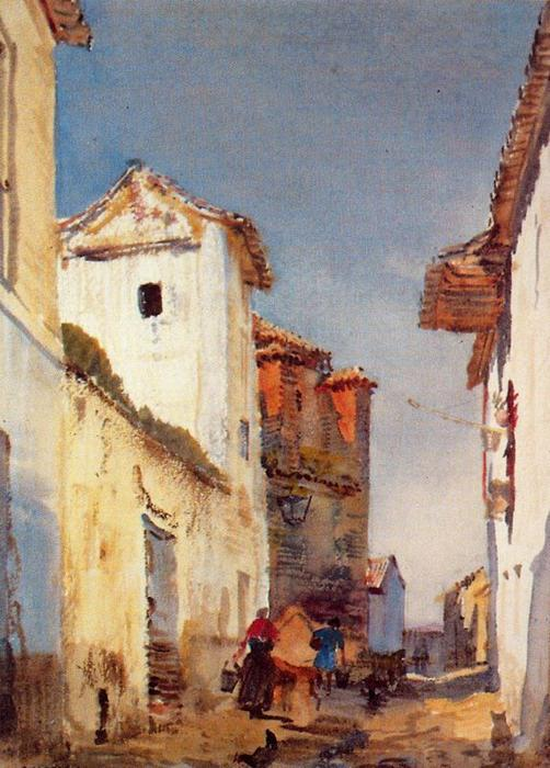 Street of El Albaicín di Jorge Apperley (George Owen Wynne Apperley) (1884-1960, United Kingdom)