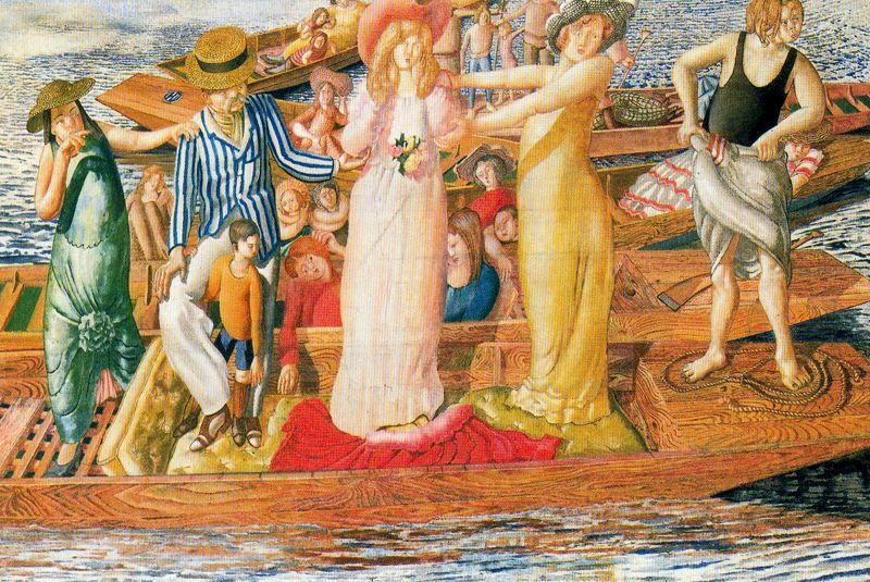 cristo predicazione a cookham regata . Ascolto da punts di Stanley Spencer (1891-1959, United Kingdom)